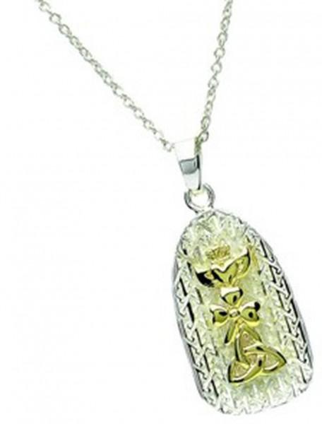 Anhänger Silber 925 und Gold mit Trinity Knot / Claddagh