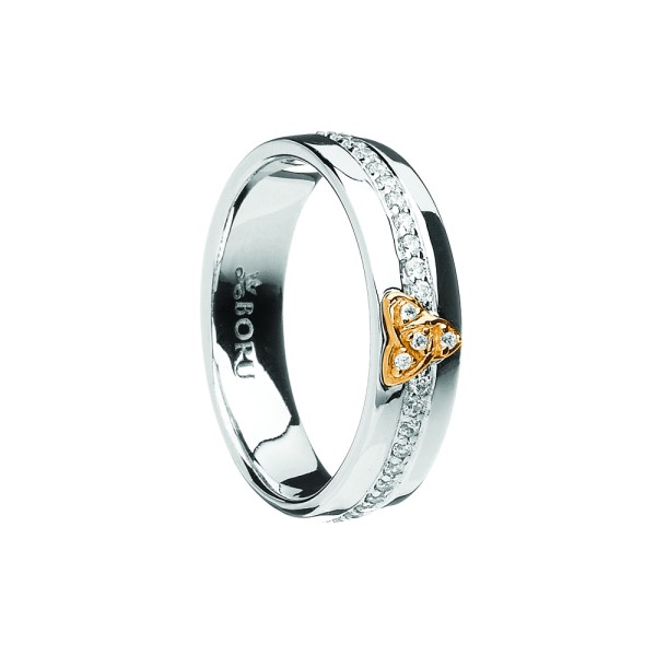 10 Karat Trinity Zirkon Band Wide