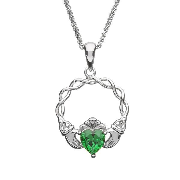 Kette mit Claddaghanhänger Pave und grünem Zirkon Silber 925