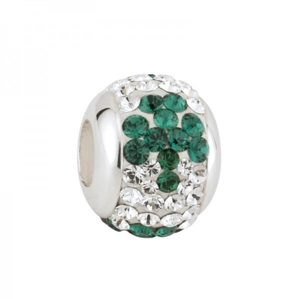 Celtic bead grünes Kleeblatt mit Kristallen Silber 925