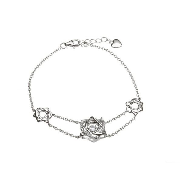 Damhsa Kollektion Trinity & Herz Armband Silber 925 mit Zirkonia