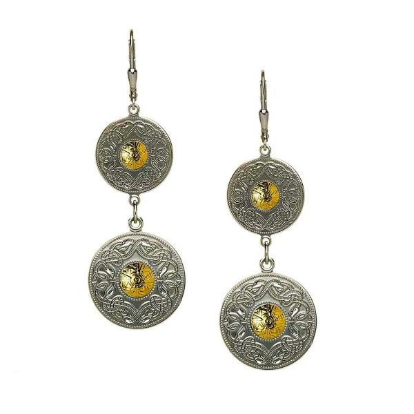 Ohrringe Celtic Warrior keltischer Krieger Silber und 750 Gold