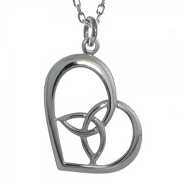 925 Silber Kette mit Herz und Trinity Knot