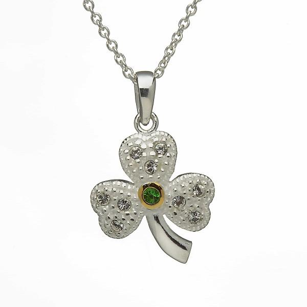 Keltische Kette Kleeblatt Silber mit Steinen