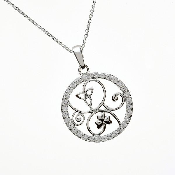 Irische Kette Trinity knot und Kleeblatt Silber mit Zirkon