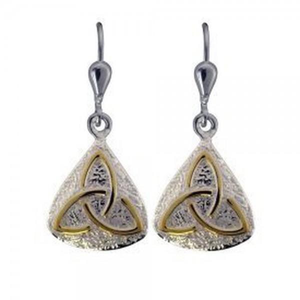 Keltische Ohrringe Silber 925 mit Gold
