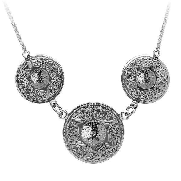Irische Kette Silber Celtic Warrior keltischer Krieger aus 10 Karat Weißgold (416)