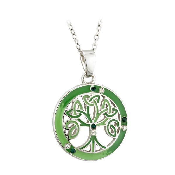 Irische runde Kette Baum des Lebend rhodiniert