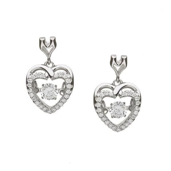Ohrringe Keltisches Herz Silber mit Zirkonia