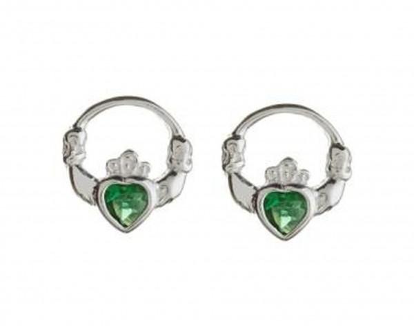 Keltische Claddagh Ohrstecker Silber  mit grünem Achat