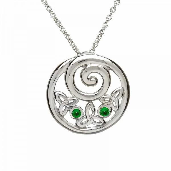 Irische Kette Trinity Knot rund Silber mit grünem Zirkon