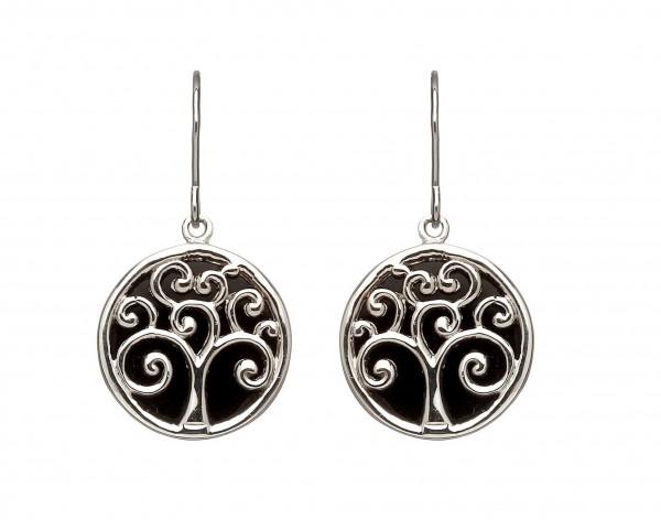Ohrringe Baum des Lebens Silber mit schwarzem Hintergrund