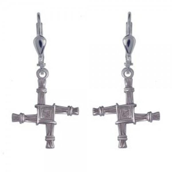 Irische Ohrringe St. Brigid Kreuz aus Silber 925