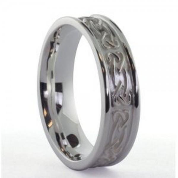 Irischer Herrenring Silber keltisches Band mit keltischen Knoten