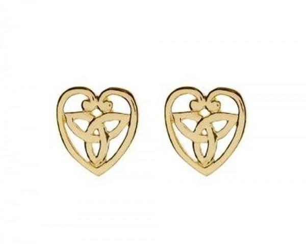 Keltische Ohrringe Herz Trinity Knot 10 ct. Gold 416