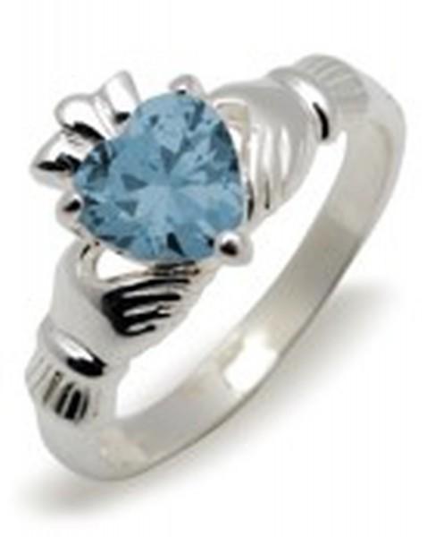 Irischer Claddagh Ring Geburtsstein März Silber 925