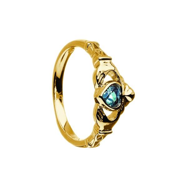 Irischer Ring Geburtsstein Dezember Blauem Topaz