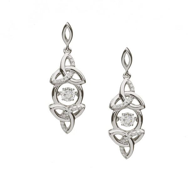 Keltische Ohrringe Trinity Knot Zirkonia Silber