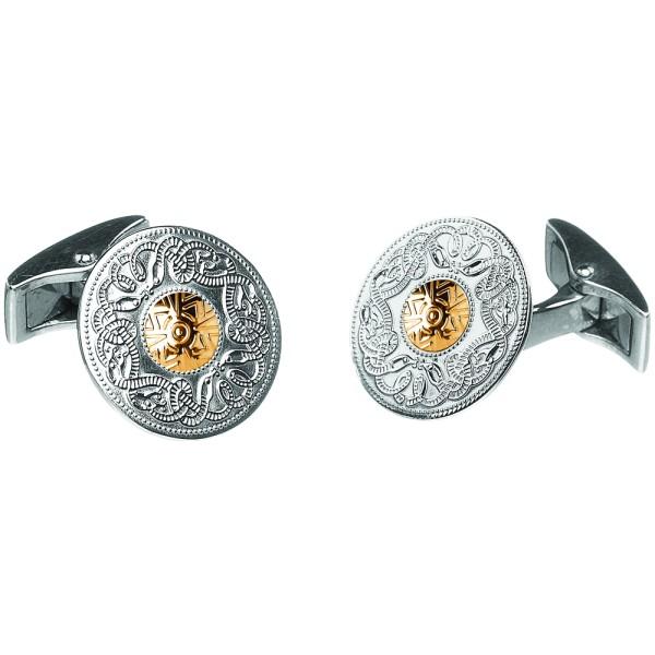 Keltische Manschettenknöpfe aus der Celtic Warrior Kollektion - groß Silber 925 mit 18 Karat Gold