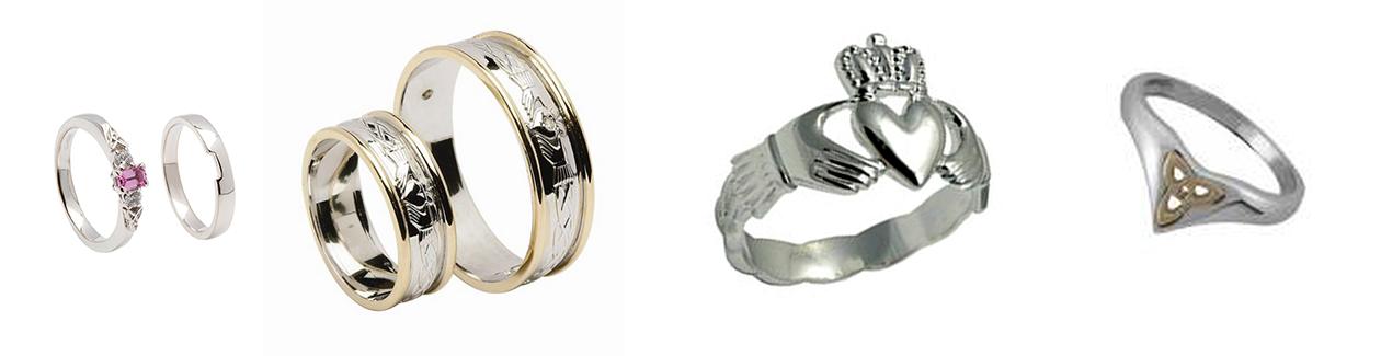 Irischer Schmuck Ringe aus Silber und Gold