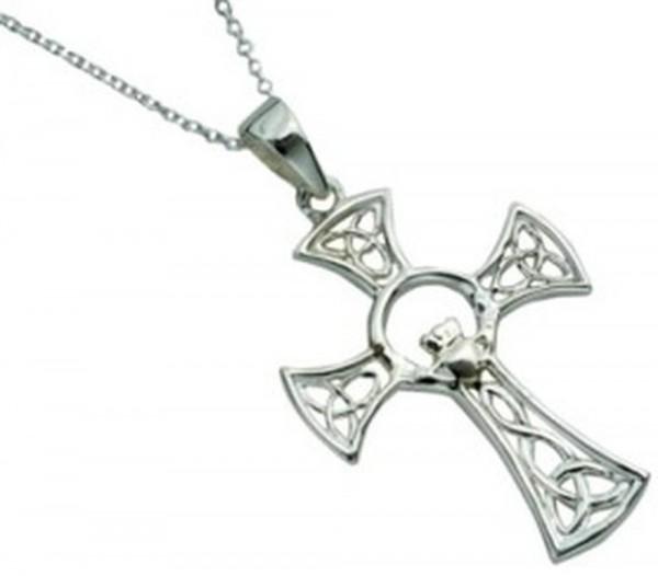 Keltisches Kreuz rund Claddagh Silber 925