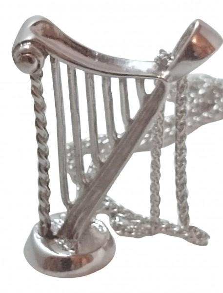Massive Irische Kette mit 3D Anhänger Harfe aus Silber 925