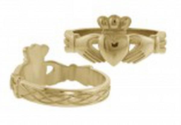 Irischer Herren Claddagh Rng mit keltischen Wellen Silber