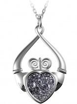 Irischer Drusy Claddagh Anhänger Silber 925 Platinum