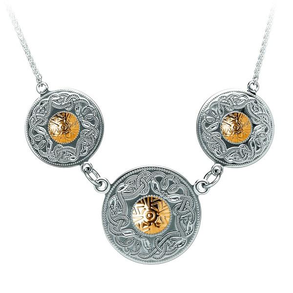 Irische Kette Silber Celtic Warrior keltischer Krieger aus Silber 925 mit 18 Karat Gold