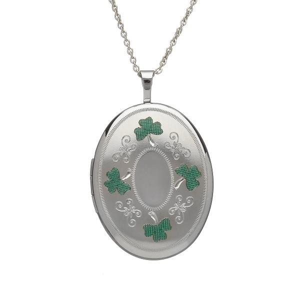 Keltischer ovaler Anhänger aus Silber 925 mit grünem Kleeblatt Medallion