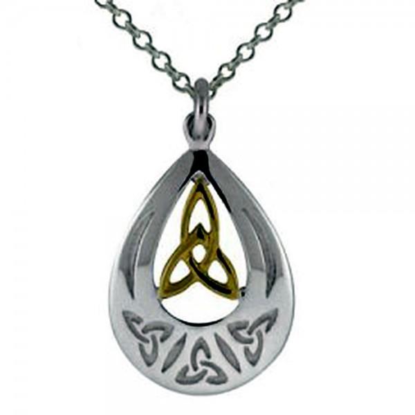 Irische Kette Trinity knot Gold 585 Silber