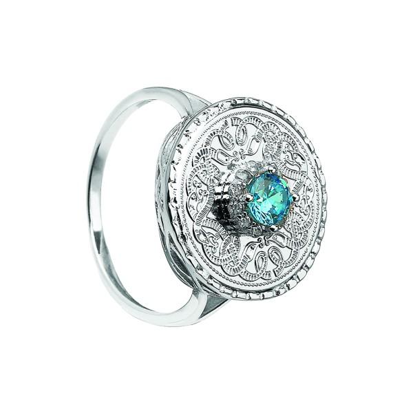 Keltischer Krieger Ring mit blauem Zirkon