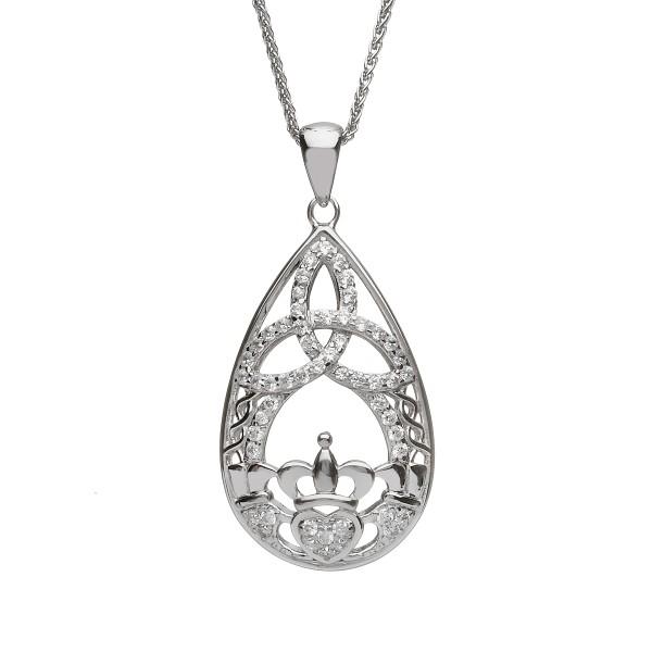 Keltischer Anhänger Silber 925 Tränentropfen Claddagh mit Zirkon klein