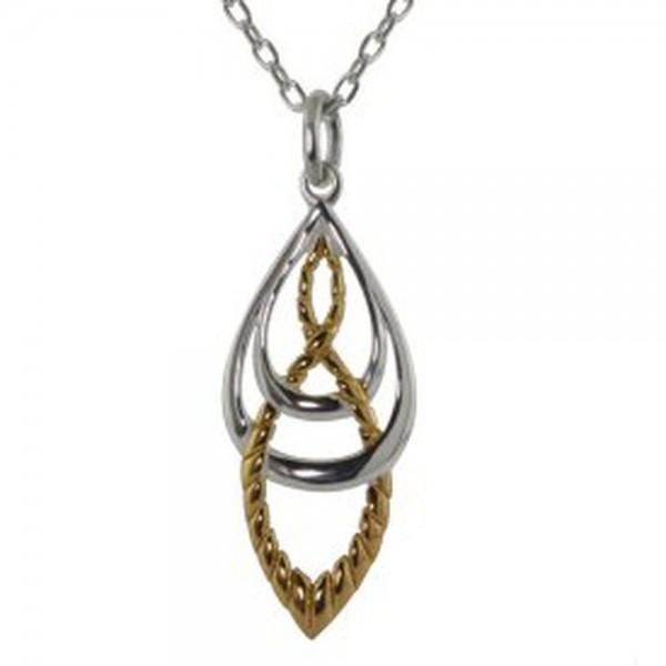 Kette Keltische Knoten Silber und Gold und Gold-Ton-Effekt