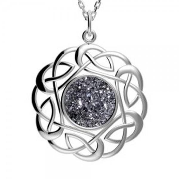 Drusy Anhänger rund  Silber keltischer Knoten grau