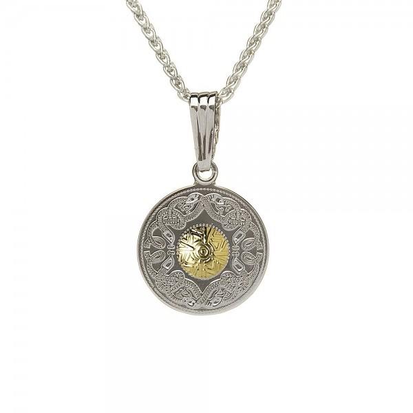 Irische Kette Celtic Warrior Silber und 18 Karat Gold rund