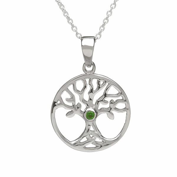 Irische Kette Baum des Lebens Silber mit grünem Zirkon