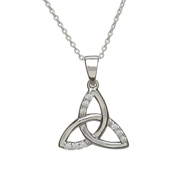 Trinity Knot mit Anhänger Herz aus Silber mit Zirkon