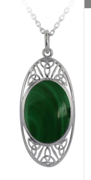 Irische Kette Trinity Knot aus Silber 925 mit Schmuckstein Malachit