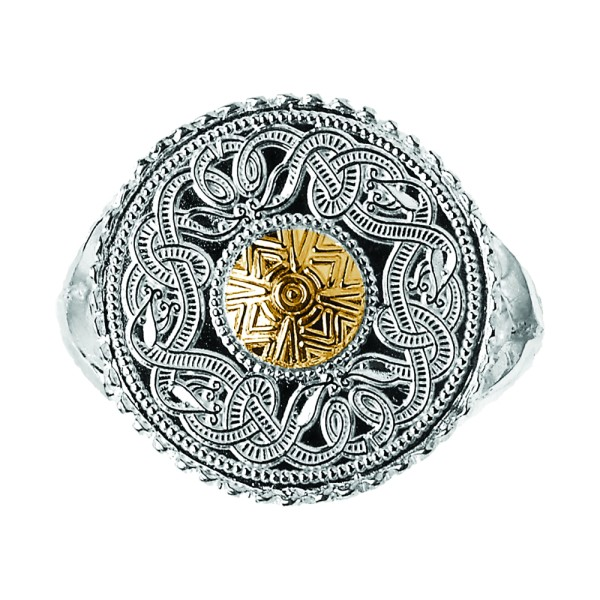 Keltischer Krieger Ring aus Irland Silber und 18 ct. Gold