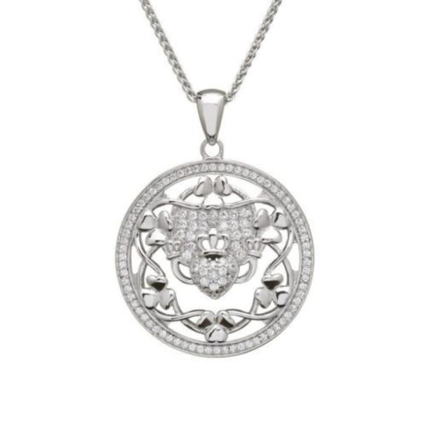 Kette Silber 925 mit keltischem Claddagh und Kleeblatt