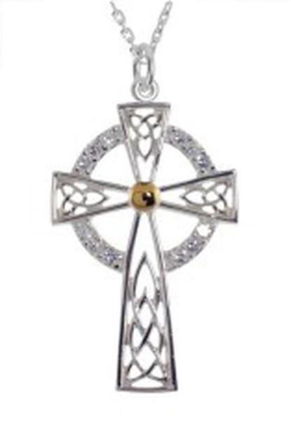 Kette hohes irisches Kreuz mit weißen Zirkonen