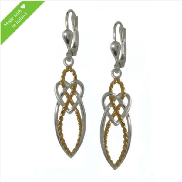 Ohrringe keltischer Knoten Silber mit Goldton