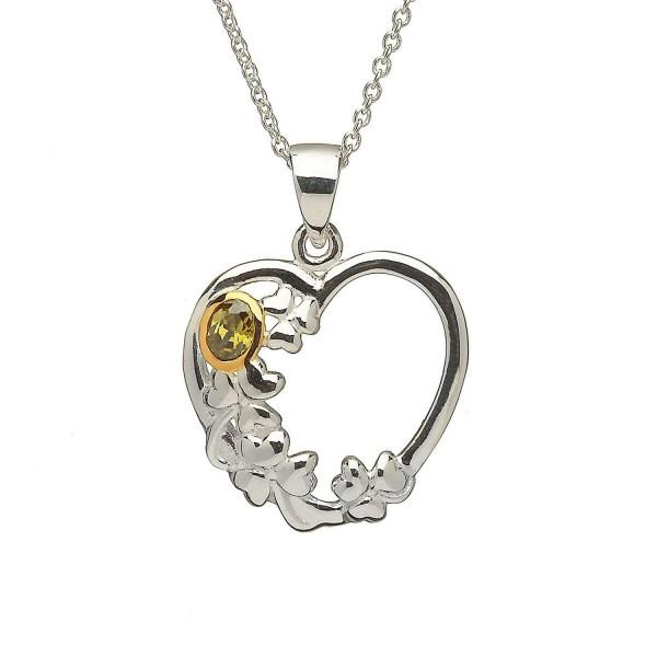 Keltische Kette Kleeblatt mit Herz in Silber mit Olivenstein