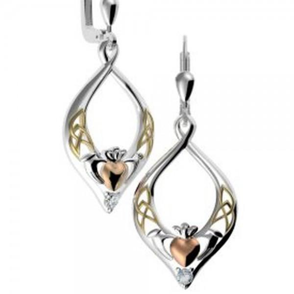 Keltische Claddagh Ohrringe Silber vergoldet