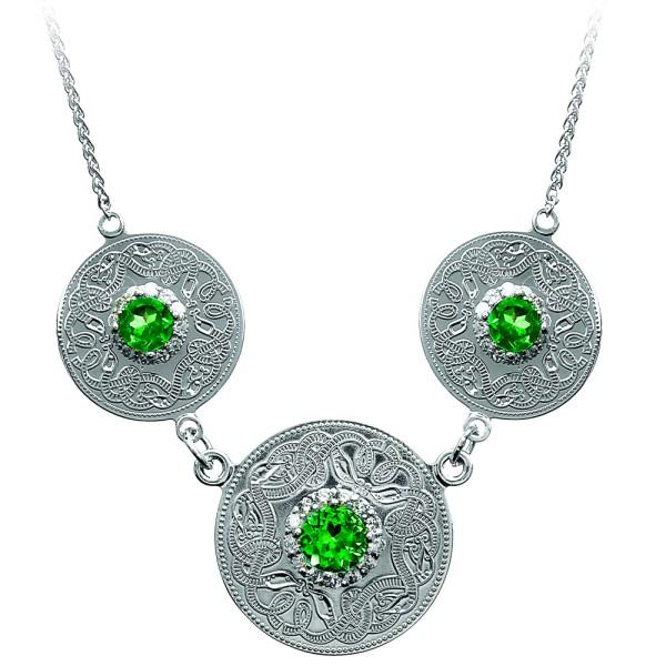 Irische Kette Silber Celtic Warrior Silber 925 mit Smaragd und Zirkonen