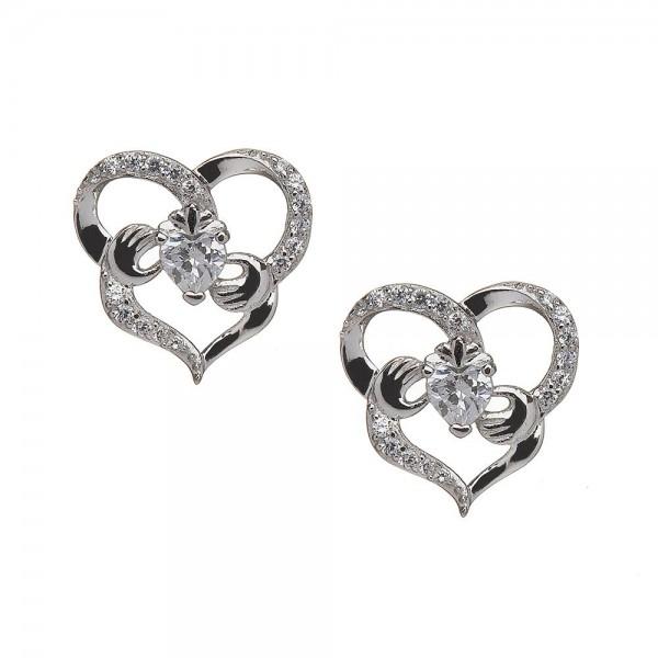 Keltische Claddagh Ohrringe herzförmig mit Zirconia Silber 925