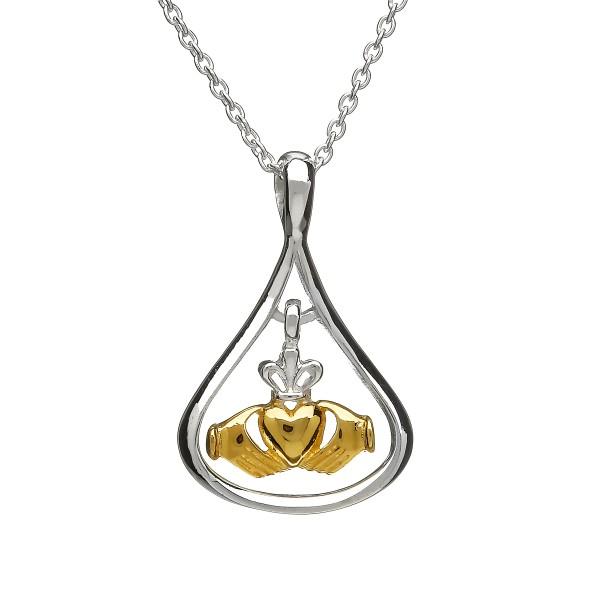 Silber 925 Keltischer Claddagh Anhänger vergoldet