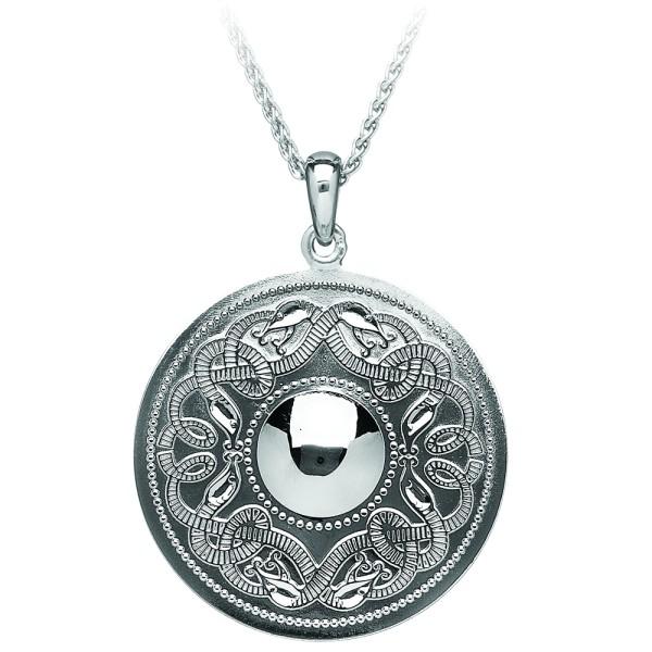 Irische Kette Silber Celtic Warrior keltischer Krieger rund