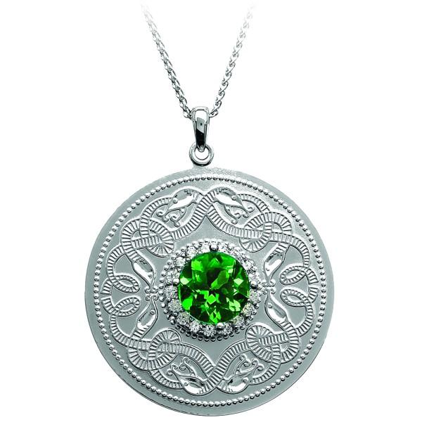Irische Kette Silber 925 Celtic Warrior keltischer Krieger groß mit klaren und grünen Zirkon rund
